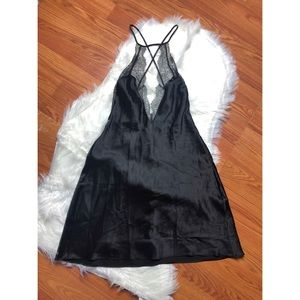 Victoria Secret Black Silk w/ Lace Slip Dress